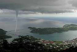 [Four waterspouts, St.Thomas.  Picture taken by ???]